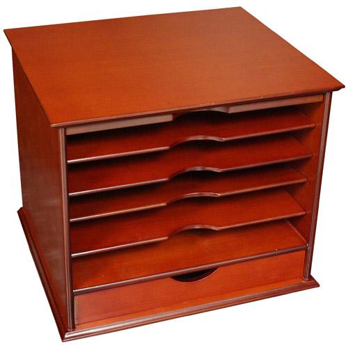 Five shelf desktop organizer with drawer cherry in - Desk drawer paper organizer ...