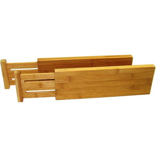 expanding bamboo drawer dividers set of 2 in