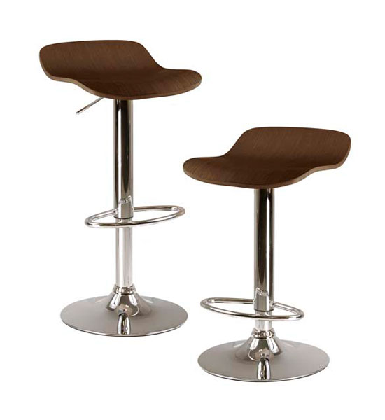 Adjustable Bar Stools Cappuccino Set Of 2 In Modern