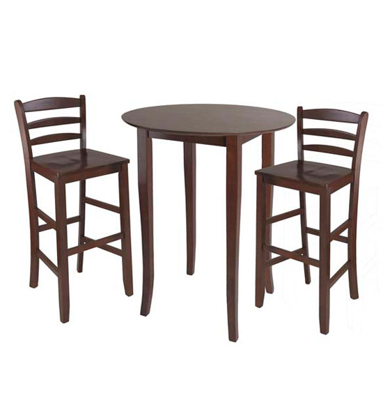 Three piece high top dining table and chairs in bar table sets for Breakfast table with stools