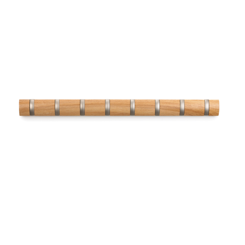 Wood Flip 8 Hook Coat Rack Natural in Wall Coat Racks