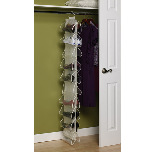Canvas 20 Pocket Hanging Shoe Rack In Hanging Shoe Organizers