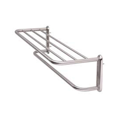 Hotel Style Towel Shelf And Rack Satin Nickel In Wall