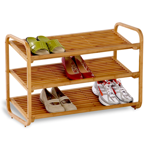 Bamboo Shoe Rack 3 Tier In Racks