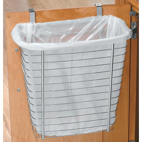 Axis Chrome Over Cabinet Wastebasket In Cabinet Trash Cans