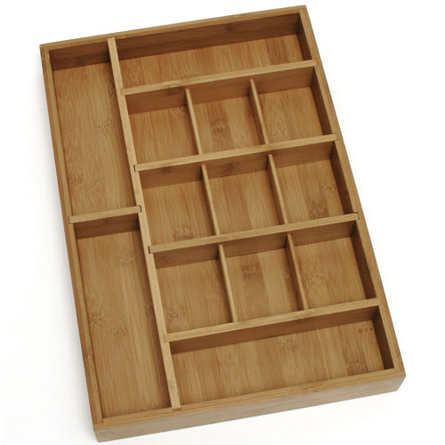 Bamboo adjustable drawer organizer in desk drawer organizers - Desk drawer organizer trays ...