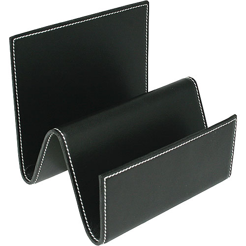 Genuine leather file and mail organizer black in mail - Black leather desk organizer ...