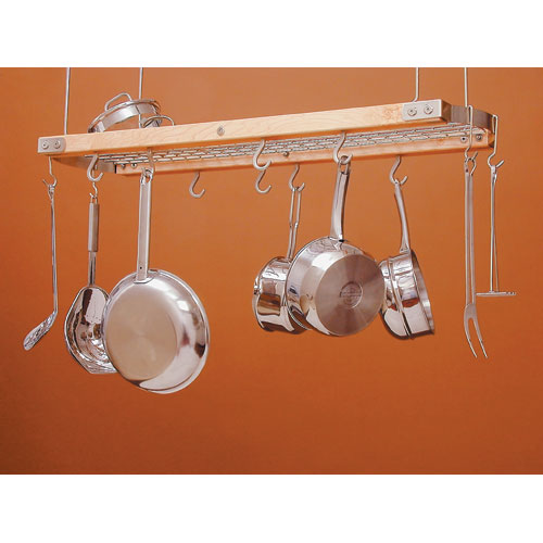 Wood and chrome hanging pot rack in hanging pot racks for Overhead pots and pans rack