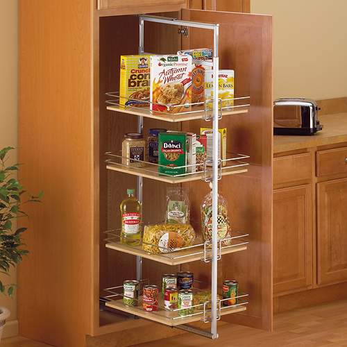 Center Mount Pantry Roll Out System Nickel In Pull Out: kitchen cabinet organization systems
