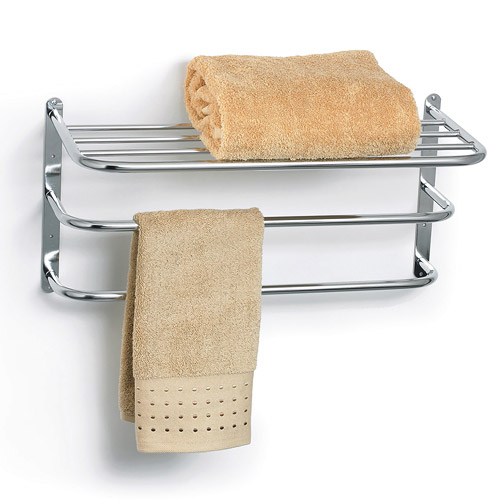 chrome towel rack with shelf in wall towel racks