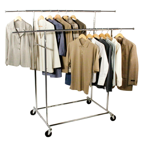 Double Bar Commercial Chrome Garment Rack In Clothing Racks And Wardrobes