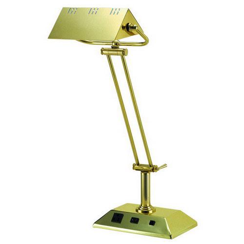 brass desk lamp with outlet data ports in desk lamps. Black Bedroom Furniture Sets. Home Design Ideas