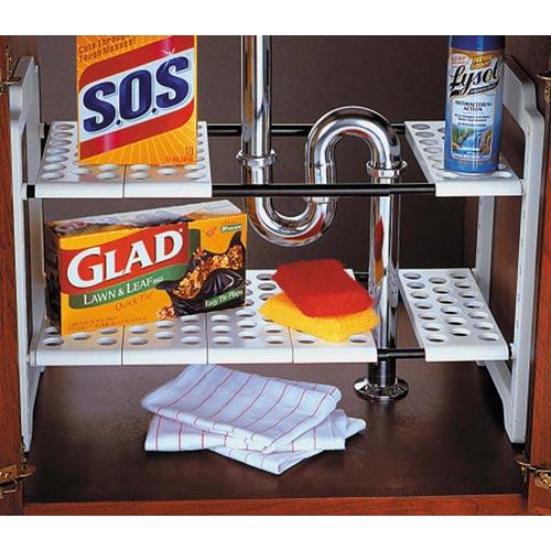 expandable under sink storage shelf in under sink organizers. Black Bedroom Furniture Sets. Home Design Ideas