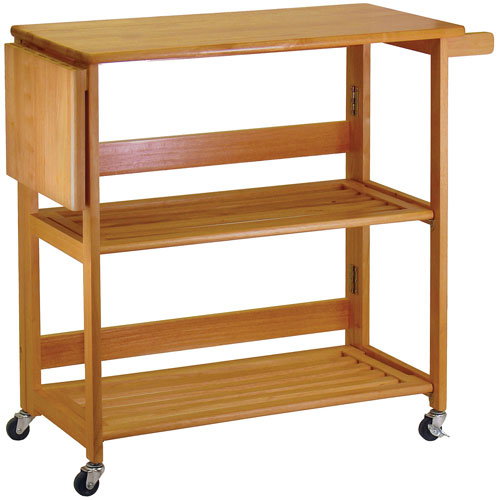 Furniture > Kitchen Island Carts > Folding Kitchen Cart  Light Oak