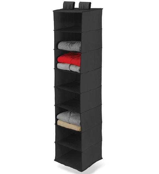 hanging shelf organizer for closet rods in hanging closet. Black Bedroom Furniture Sets. Home Design Ideas