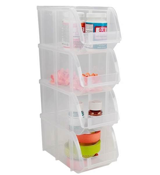 Stackable Plastic Bins United Solutions Sb0119 Set Of