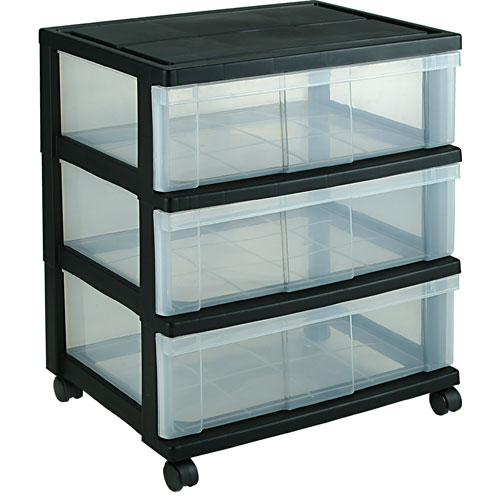 Plastic 3 Drawer Chest ~ Iris wide three drawer storage chest black in
