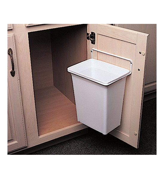 door mounted trash can in cabinet trash cans. Black Bedroom Furniture Sets. Home Design Ideas
