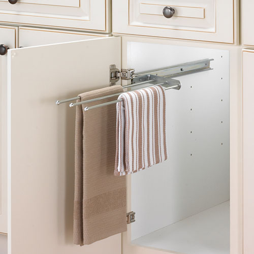 cabinet pull out towel bar chrome in kitchen towel holders