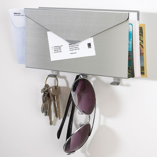 Mail Organizer and Key Rack - Brushed Aluminum in Mail Organizers