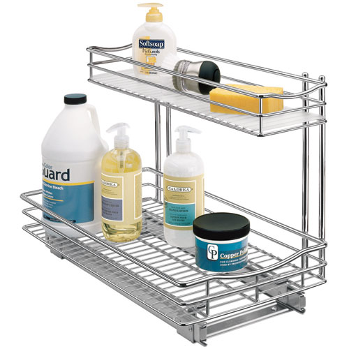 Deep pull out under sink organizer chrome in pull out for Bathroom organizers
