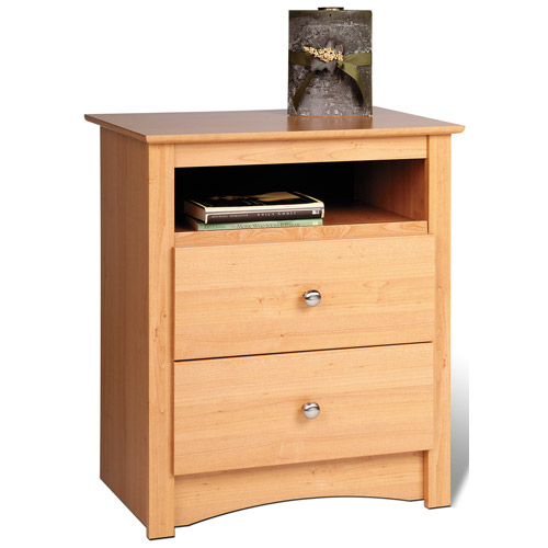 Sonoma tall two drawer night stand maple in nightstands for Extra tall nightstands