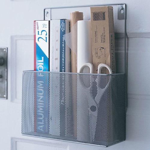silver mesh mounted kitchen wrap organizer in food wrap