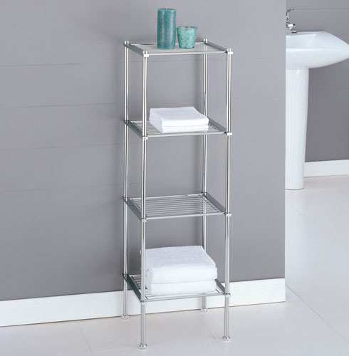 Metro four tier chrome bath shelf in bathroom shelves - Etagere salle de bain ventouse ...