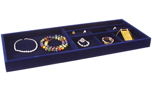 Blue velvet jewelry organizer 27 5 inches wide in for Velvet jewelry organizer trays