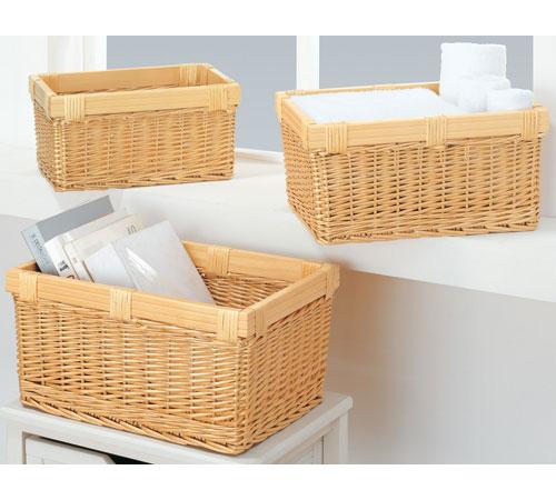 nesting willow wicker storage baskets set of 3 in. Black Bedroom Furniture Sets. Home Design Ideas