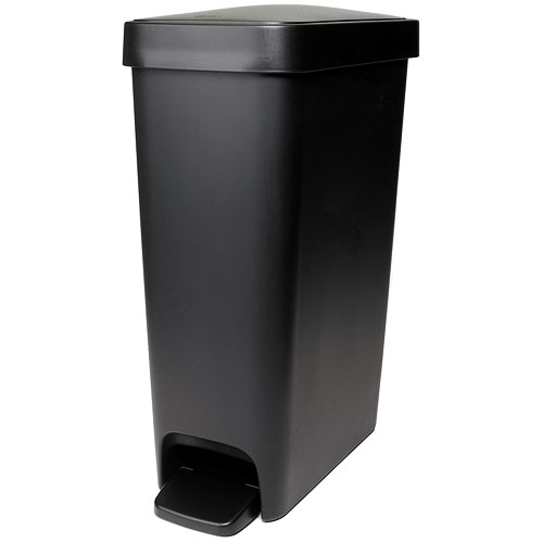 Oxo 10 1 2 Gallon Slim Step Trash Can Black In Kitchen
