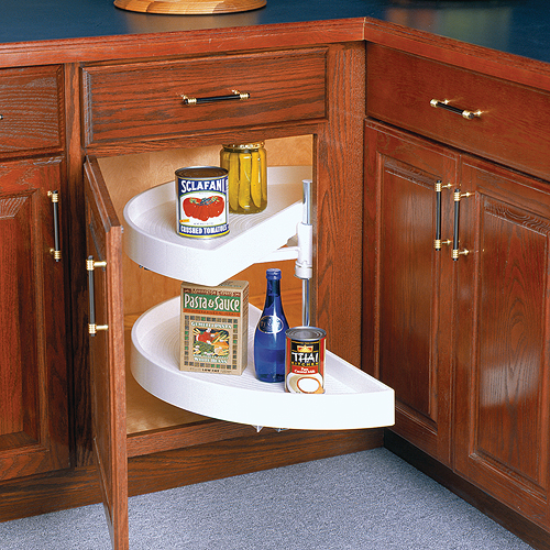 28 Inch Cabinet Lazy Susan Pivoting Half Moon In Cabinet