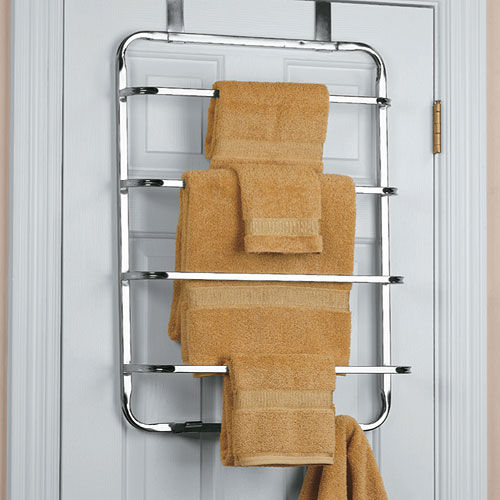Four tier over the door towel rack chrome in over the door towel racks for Door towel racks for bathrooms