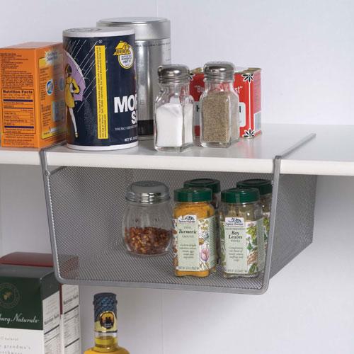 Silver mesh under shelf storage basket small in under for Under shelf basket wrap rack