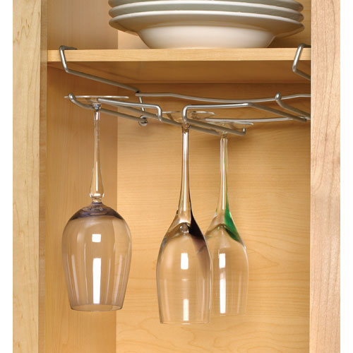 under shelf chrome stemware rack in wine glass racks. Black Bedroom Furniture Sets. Home Design Ideas
