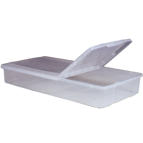Split top plastic underbed storage box in plastic storage Under bed book storage