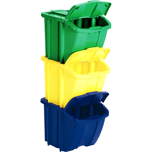 Stackable Recycle Bins Set Of 3 In Recycling Bins