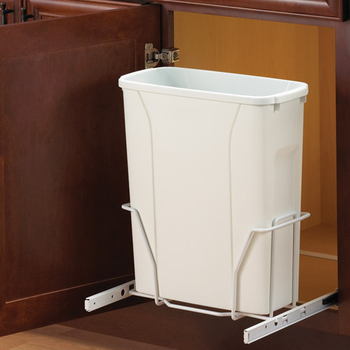 Sliding shallow cabinet wastebasket in cabinet trash cans - Small pull out trash can ...