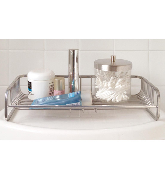 Toilet tank top organizer in vanity and sink accessories for Bathroom accessories organizer