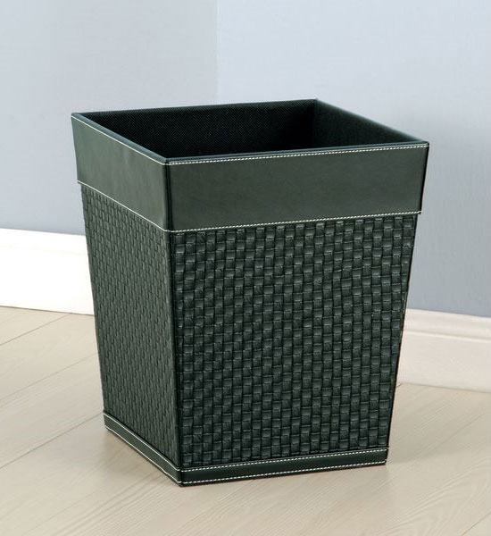 Waste Basket Black Faux Leather In Small Trash Cans