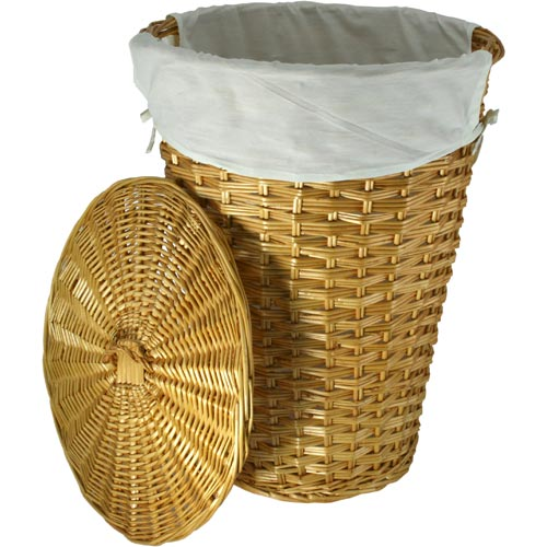 Canvas lined wicker laundry hamper in clothes hampers - Rattan clothes hamper ...