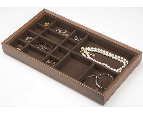 Wood Jewelry Organizer 15 Compartment In Jewelry Trays