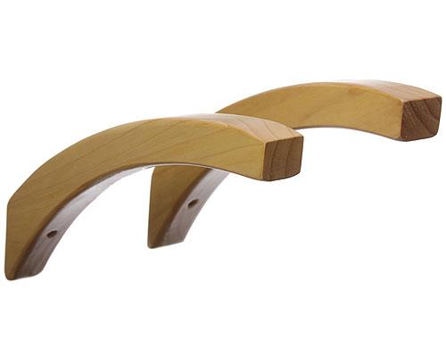 12 inch angled wood shelf brackets honey maple set of 2. Black Bedroom Furniture Sets. Home Design Ideas