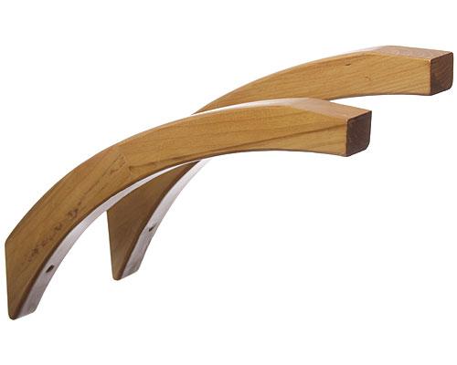 16 inch angled wood shelf brackets honey maple set of 2 image