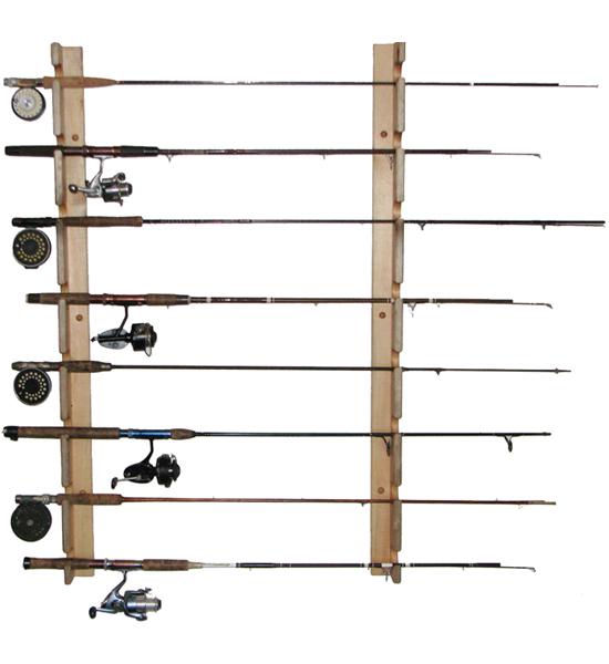 horizontal wall fishing rod racks