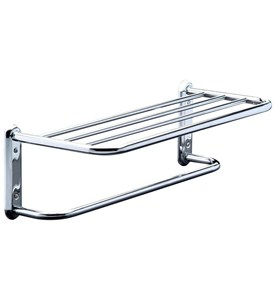 Hotel Style Towel Shelf and Rack - Chrome Image