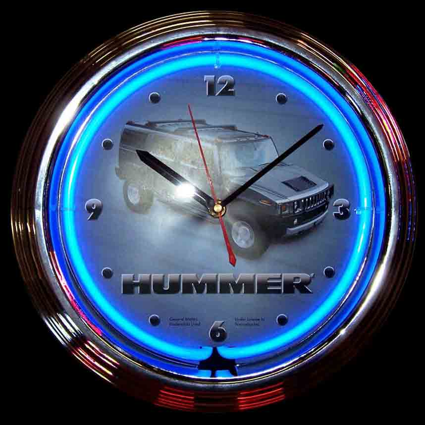 Hummer Neon Clock by Neonetics in Wall Clocks