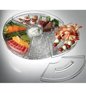 Rotating Appetizers-On-Ice Tray with Lids Image