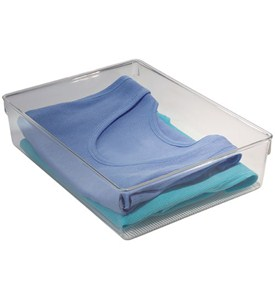 Clear Plastic Dresser Drawer Organizer - Large Image