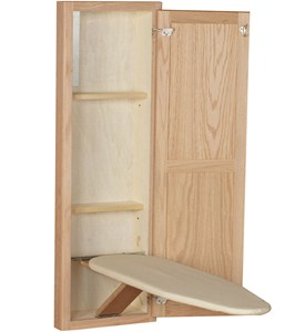 In Wall Ironing Board and Cabinet - Unfinished Oak Image